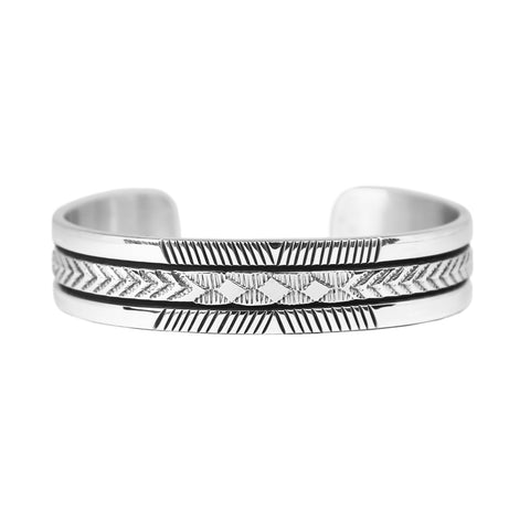 Bruce Morgan Stamped Silver Cuff Bracelet - Style 3