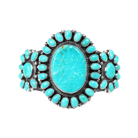Turquoise Statement Cluster Cuff Bracelet