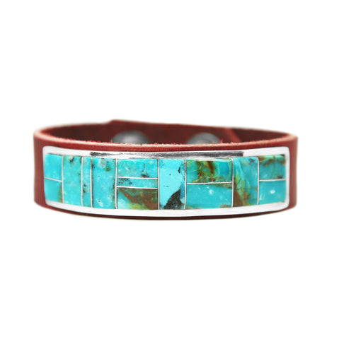 Turquoise Inlay Brown Leather Bracelet