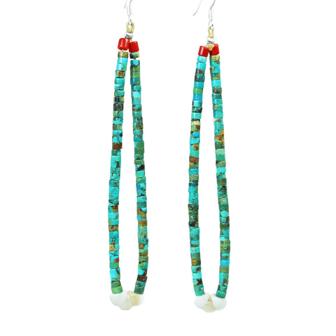 Long Turquoise Jacla Heishi Earrings