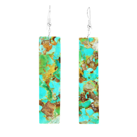 Long Kingman Turquoise Slab Earrings