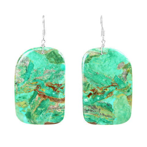 Nevada Green Turquoise Slab Earrings