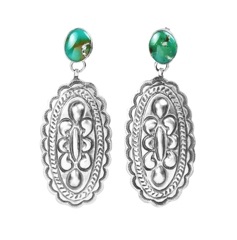 Nevada Green Turquoise Stamped Silver Earrings