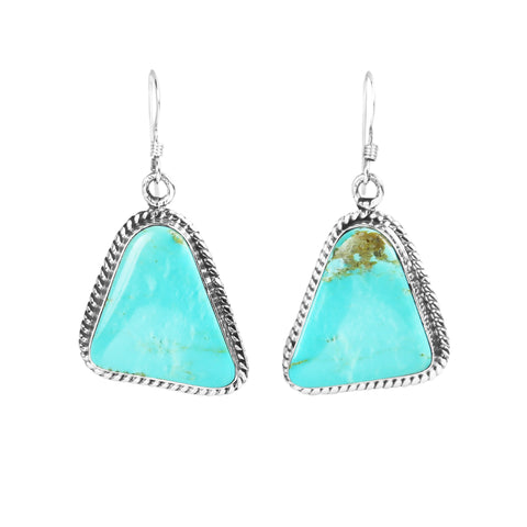 Triangular Turquoise & Silver Dangle Earrings