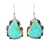 Kingman Turquoise Wire Border Dangle Earrings