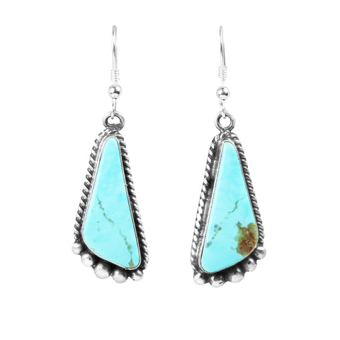 Satin Finish Turquoise Dangle Navajo Earrings