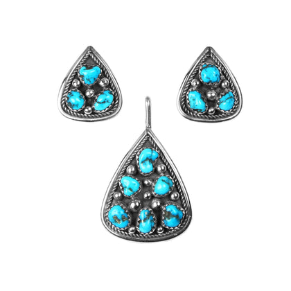 Sleeping Beauty Turquoise Pendant & Earrings Set