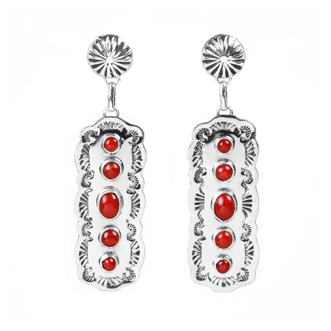 Five Stone Coral High Polish Silver Earrings