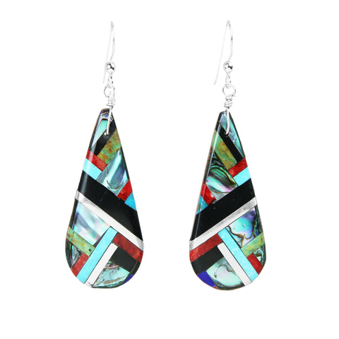 Teardrop Abalone Shell Inlay Dangle Earrings