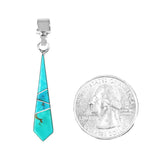Long Dainty Turquoise Inlay Pendant