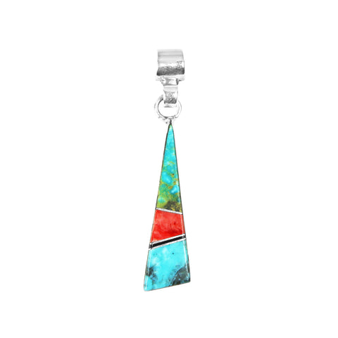 Dainty Turquoise & Spiny Oyster Inlay Pendant