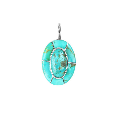 Oval Turquoise Stacked Inlay Pendant - Style 1