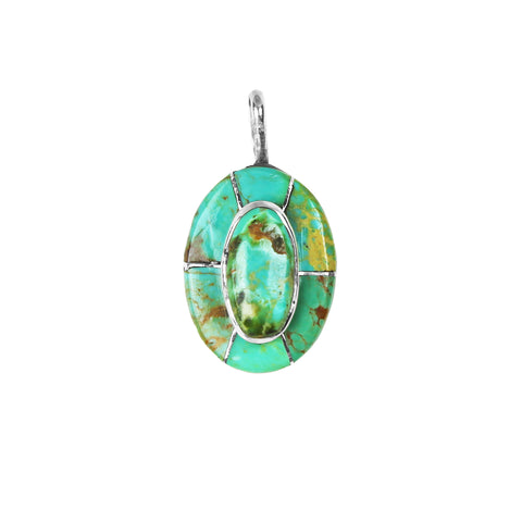 Oval Turquoise Stacked Inlay Pendant - Style 2