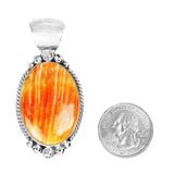Oval Orange Spiny Oyster Navajo Pendant