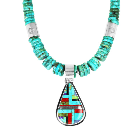 Santo Domingo Inlay Pendant & Turquoise Necklace