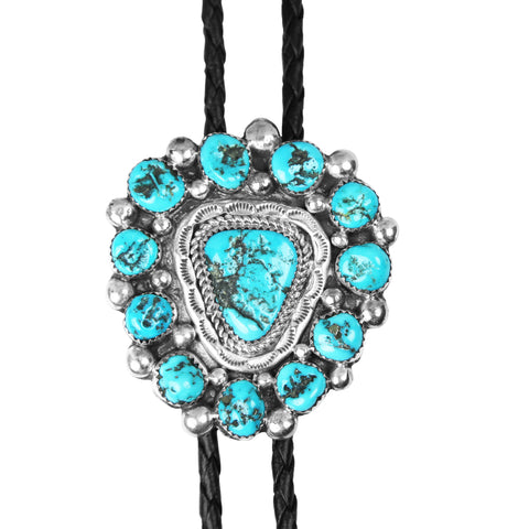 Sleeping Beauty Turquoise Cluster Bolo Tie