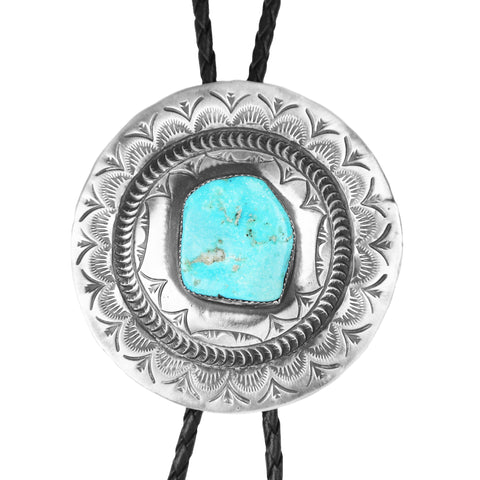 Round Stamped Silver & Turquoise Bolo Tie