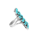 Square Sleeping Beauty Turquoise Cluster Ring - Style 1