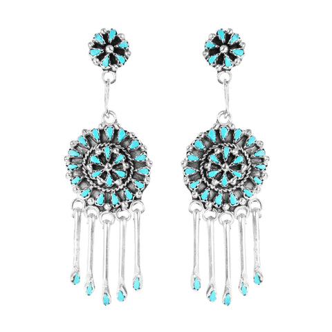 Zuni Point Turquoise Chandelier Earrings