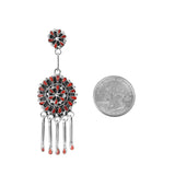 Zuni Point Coral Chandelier Earrings