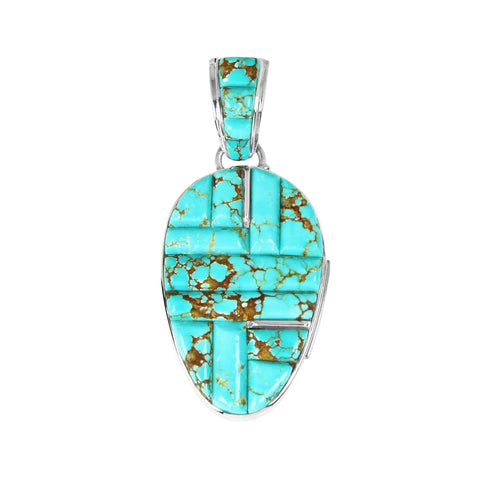 Turquoise Inlay Reversible Pendant by Calvin Begay