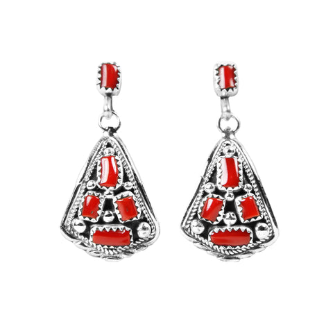 Coral Navajo Post Dangle Earrings
