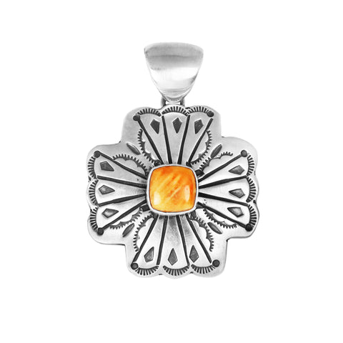 Stamped Spiny Oyster Navajo Concho Cross Pendant