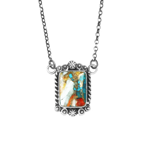 Rectangle Spiny Oyster Turquoise Bar Necklace
