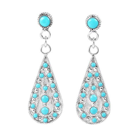 Zuni Teardrop Turquoise Dot Earrings