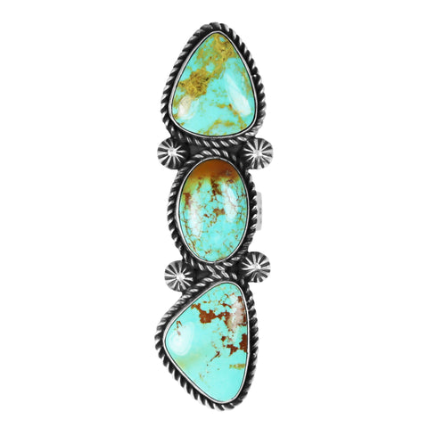 Three Stone Long Kingman Turquoise Ring - Style 2