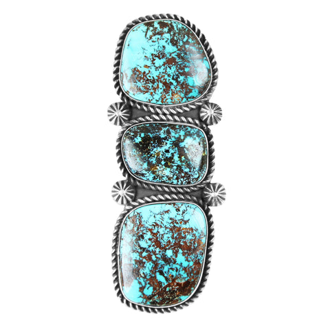 Three Stone Long Kingman Turquoise Ring - Style 1