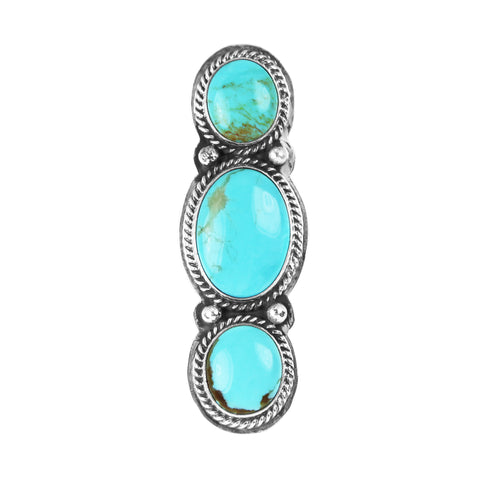 Three Stone Long Turquoise Cabochon Ring