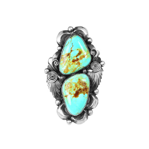 Two Stone Kingman Turquoise Statement Ring