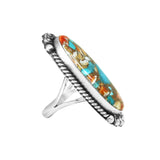 Elongated Navajo Spiny Turquoise Silver Ring