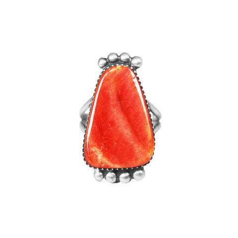 Red Spiny Oyster Navajo Silver Ring