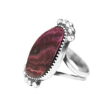 Purple Spiny Oyster Silver Navajo Ring