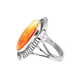 Oval Orange Spiny Oyster Navajo Ring