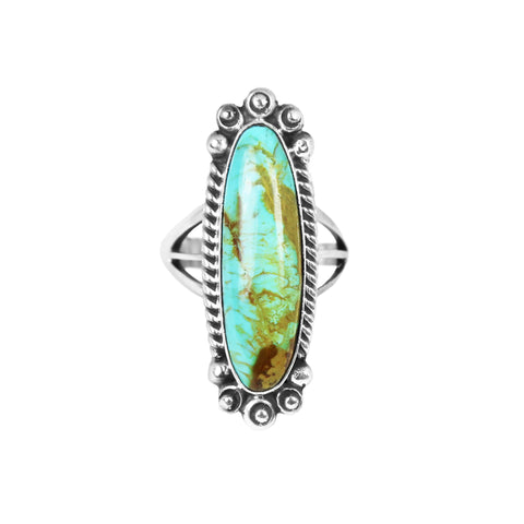 Long Kingman Turquoise Statement Ring