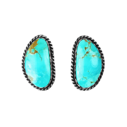 Large Kingman Turquoise Post Earrings