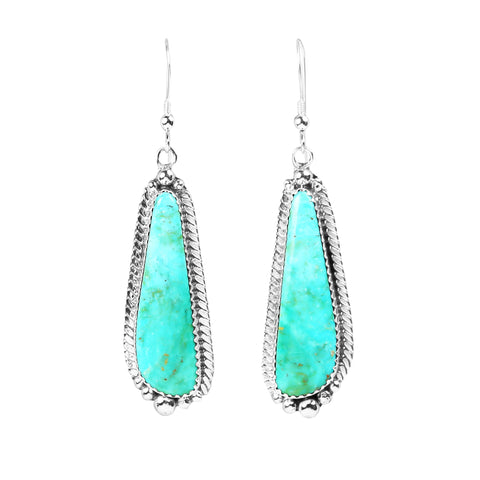 Kingman Turquoise Silver Dangle Earrings