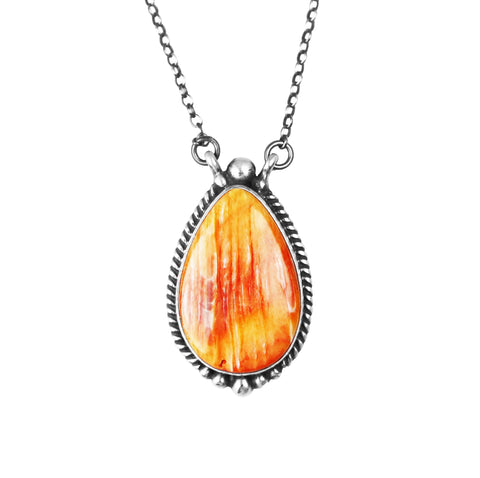 Pear Shaped Orange Spiny Chain Necklace