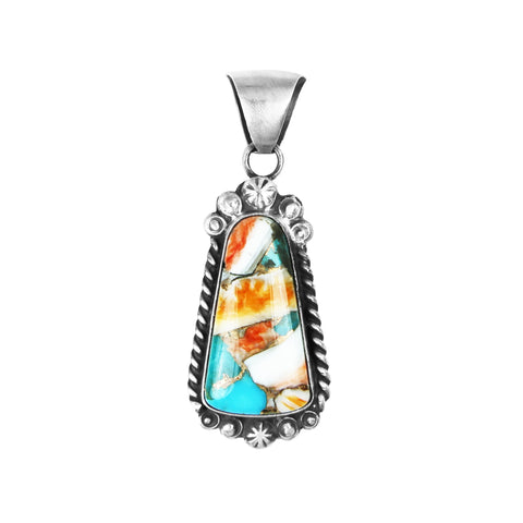 Spiny Oyster Turquoise Silver Pendant