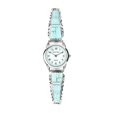 White Opal Inlay Navajo Ladies Watch