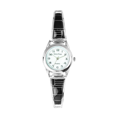 Zuni Jet Stone Inlay Ladies Watch