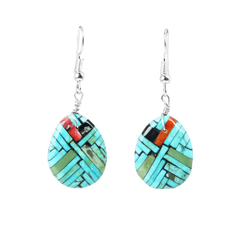 Teardrop Turquoise Mosaic Inlay Dangle Earrings