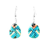Turquoise & Serpentine Mosaic Inlay Dangle Earrings