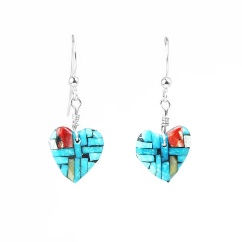 Turquoise & Multi Stone Inlay Heart Earrings