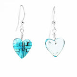 Turquoise Mosaic Inlay Heart Dangle Earrings