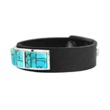 Blue Kingman Turquoise Inlay Leather Bracelet