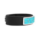 Kingman Turquoise Inlay Leather Bracelet
